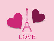 Eiffel Tower with hearts. Paris. Postcard Valentine's Day. Vecto. R illustration Royalty Free Stock Photos