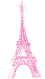 Eiffel tower with herats, isolated on white background Stock Image