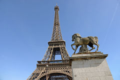 Eiffel Tower and Horse Sculpture in Foreground, Paris, France Royalty Free Stock Images