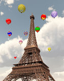 Eiffel Tower and hot air balloons Stock Images