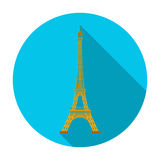 Eiffel tower icon in flat style isolated on white background. Countries symbol stock vector illustration. Royalty Free Stock Images