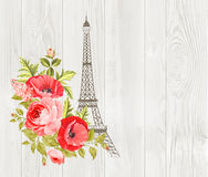 The Eiffel tower. Eiffel tower icon with spring blooming flowers over gray wooden pattern. Vector illustration Royalty Free Stock Image
