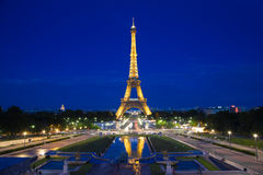 Eiffel Tower illuminated at blue hour. PARIS - JULY 24: The Eiffel Tower illuminated at blue hour, near night. View from the Trocadero Royalty Free Stock Image