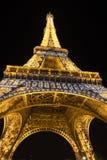 Eiffel Tower illuminated at night Stock Photos
