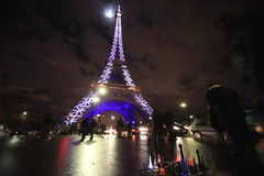 Eiffel Tower illuminated at night Royalty Free Stock Photography