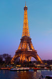Eiffel Tower illuminated at night. Royalty Free Stock Images