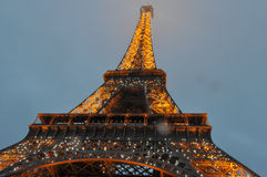 The Eiffel Tower illuminated, Paris, France.  Royalty Free Stock Photos