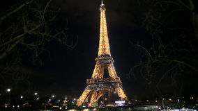 Eiffel tower illuminated in Paris stock video footage