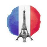 Eiffel Tower. Illustration of Eiffel Tower on the flag of France, vector illustration Stock Photo