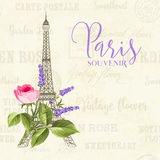Eiffel tower illustration. Eiffel tower simbol with spring blooming flowers over gray text pattern with sign Paris souvenir. Vector illustration Royalty Free Stock Image