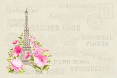 Eiffel tower illustration. Eiffel tower simbol with spring blooming flowers over gray text pattern with sign Paris souvenir. Vector illustration Stock Image