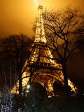 Eiffel tower iluminated at night. Behind the trees Royalty Free Stock Photography
