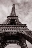 Eiffel Tower In Black And White Sepia Tone Royalty Free Stock Image