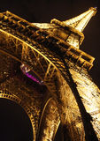 Eiffel Tower In Paris By Night, Closeup Diagonal Stock Photos