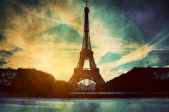 Eiffel Tower In Paris, Fance In Retro Style. Royalty Free Stock Image