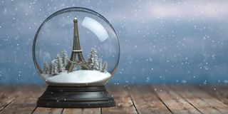 Eiffel Tower In The Snow Globe Glass Ball. Travel Or Trip To Paris And France In Winter For Celebrate Christmas Royalty Free Stock Photos