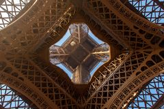 Eiffel Tower from inside view Royalty Free Stock Photography