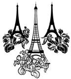 Eiffel tower among irises Stock Image