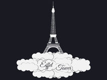 Eiffel tower isolated on black background. Eiffel Tower in the clouds. Sights of Paris and France. Vector Stock Image