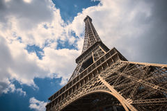 Eiffel Tower isolated with cloudy sky Royalty Free Stock Images