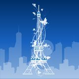 Eiffel tower isolated over the white background Stock Images
