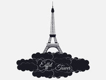 Eiffel tower isolated on white background. Eiffel Tower in the clouds. Sights of Paris and France. Royalty Free Stock Image