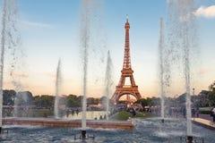 Eiffel Tower (La Tour Eiffel) with fountains. Beautiful sunset landscape in Paris Stock Photos