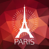 The Eiffel Tower label or logo over geometric. Background. Paris symbol for your design. Vector illustration Stock Photos