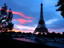 Eiffel tower, paris city, france. Eiffel tower landmark of paris city in france. famous Landmark of paris. Sunset / Sunrise sky view for advertising purposes royalty free stock photography