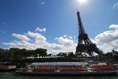 Eiffel Tower. Is landmark, river and tourist attraction. That marvel has sky, cloud and tower and that beauty contains waterway, daytime and bridge royalty free stock photography