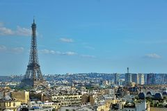 Eiffel Tower landmark, view from Arc de Triomphe. Paris, France Royalty Free Stock Images