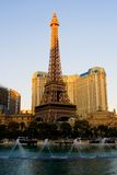 Eiffel Tower in Las Vegas. At sunset stock photo