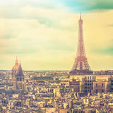 Eiffel Tower in late afternoon ,Paris Stock Photo