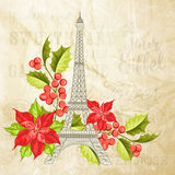 Eiffel tower with lavender flowers. Royalty Free Stock Photography