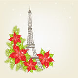 Eiffel tower with lavender flowers. Stock Images
