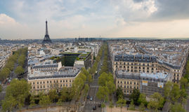 Eiffel Tower Left and Paris Skyline, Landscape Stock Photo