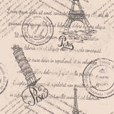 Eiffel Tower, lettering Paris, Leaning tower of Pisa, lettering Pisa, seamless pattern on beige background Royalty Free Stock Images