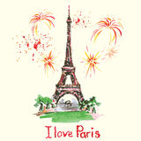 Eiffel tower,lettering,pink hearts.Hand drawn watercolor decor. Royalty Free Stock Photography