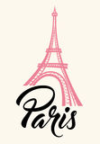 Eiffel Tower and lettering. Pink Eiffel Tower and lettering Paris. Travel concept Royalty Free Stock Photo