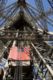 Eiffel Tower LIfts. One of the unusual Eiffel Tower lifts that take passengers to the viewing platforms.  They are located on the legs of the tower and follow Royalty Free Stock Photos