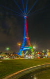 The Eiffel tower lit with the colors of the Olympic flag, Paris, France Stock Image