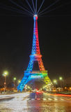 The Eiffel tower lit up with the colours of the Olympic flag . Paris, France-February 03,2017:The Eiffel tower lit with the colours of the Olympic flag Royalty Free Stock Photo
