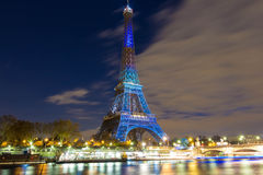 The Eiffel tower lit up in honor of climate talks in Paris, Fran Stock Photography