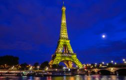 The Eiffel Tower lit up to to celebrate 300 millionth visitor since 1889 opening, Paris, France. Stock Images