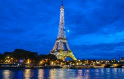 The Eiffel Tower lit up to to celebrate 300 millionth visitor since 1889 opening, Paris, France. Stock Photos