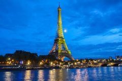 The Eiffel Tower lit up to to celebrate 300 millionth visitor since 1889 opening, Paris, France. Stock Photo