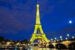 The Eiffel Tower lit up to to celebrate 300 millionth visitor since 1889 opening, Paris, France. Royalty Free Stock Images