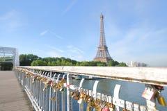 Eiffel tower and love lock padlock cityscape Paris France