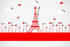 Eiffel Tower with Love Plant. Easy to edit vector illustration of Eiffel Tower with heart blooming in plant vector illustration