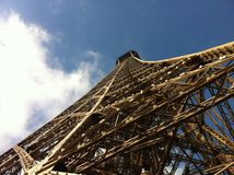 Eiffel Tower. Low angle view looking to top of Eiffel Tower in Paris, France Stock Images